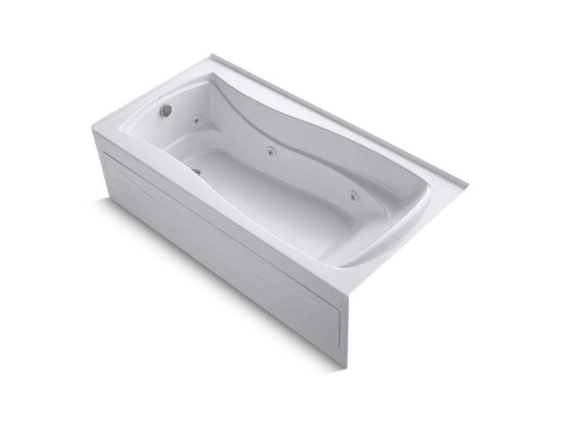 """Mariposa® 72"""" x 36"""" alcove whirlpool with integral apron, integral flange and left-hand drain, White"""