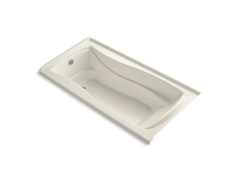 """Mariposa® 72"""" x 36"""" alcove bath with integral flange and left-hand drain, Biscuit"""