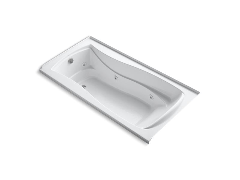 "Mariposa® 72"" x 36"" alcove whirlpool with integral flange and left-hand drain, White"