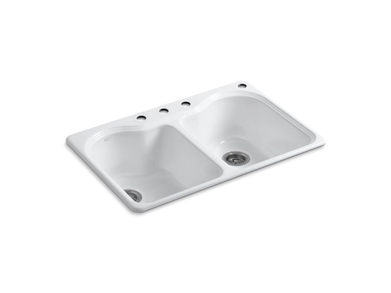 """Hartland® 33"""" x 22"""" x 9-5/8"""" top-mount double-equal kitchen sink with 4 faucet holes, White"""