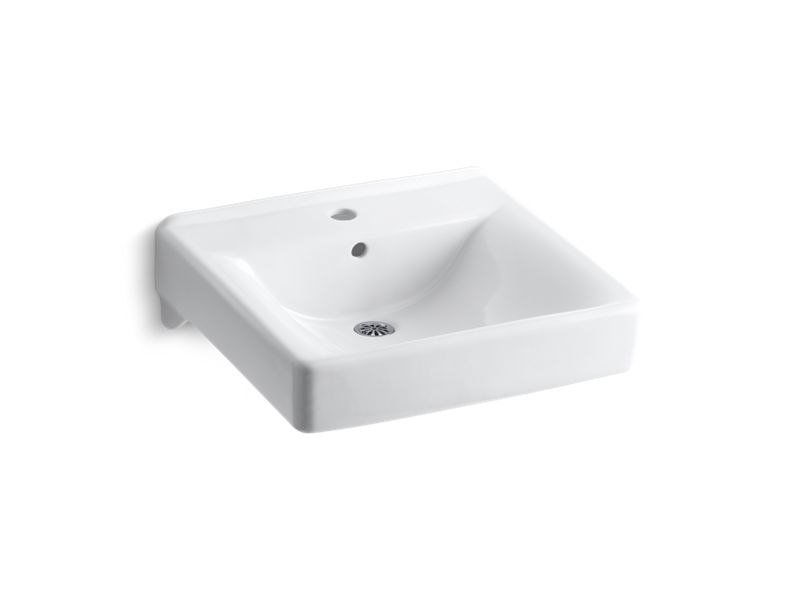 """Soho® 20"""" x 18"""" wall-mount/concealed arm carrier bathroom sink with single faucet hole, White"""