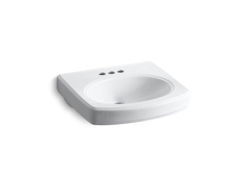 "Pinoir® bathroom sink basin with 4"" centerset faucet holes, White"