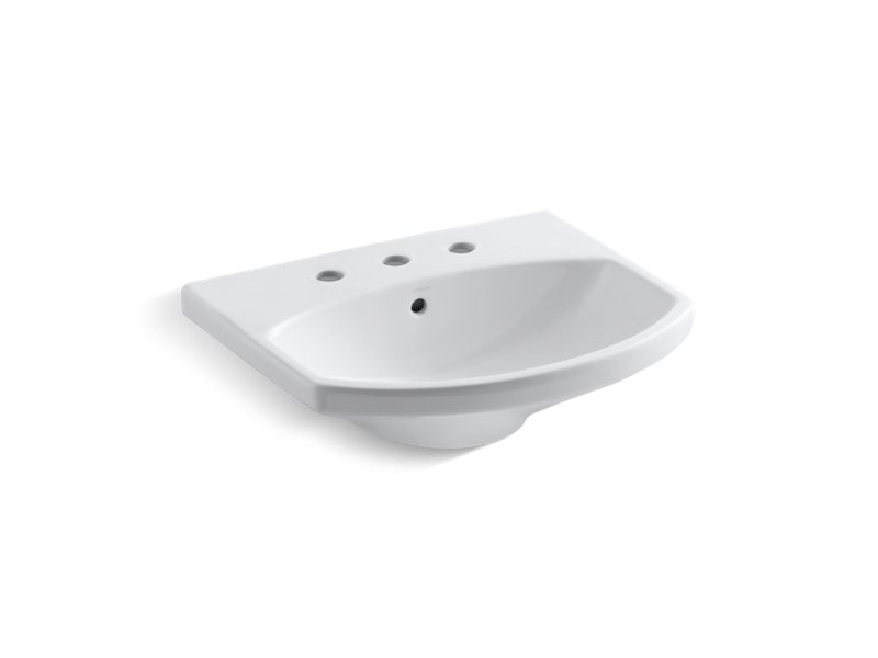 """Cimarron® bathroom sink with 8"""" widespread faucet holes, White"""