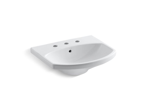 "Cimarron® bathroom sink with 8"" widespread faucet holes, White"