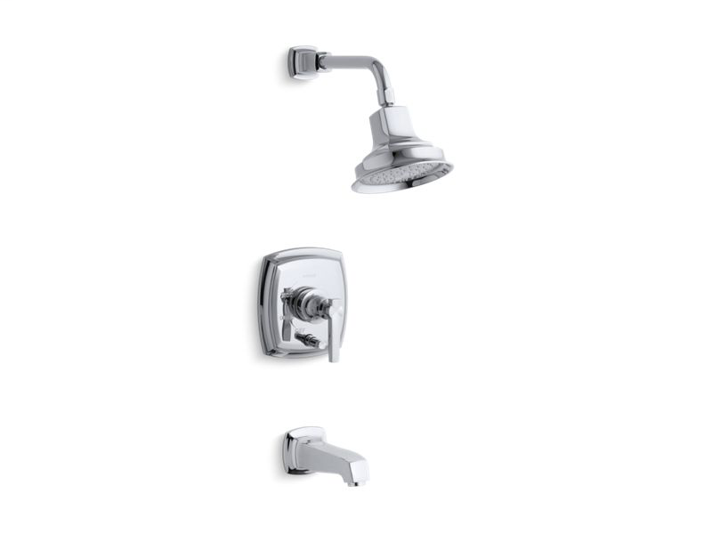 Margaux® Rite-Temp® pressure-balancing bath and shower faucet trim with push-button diverter and lever handle, valve not included, Polished Chrome