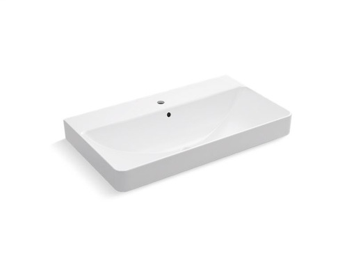 Vox® Rectangle trough vessel bathroom sink with single faucet hole, White