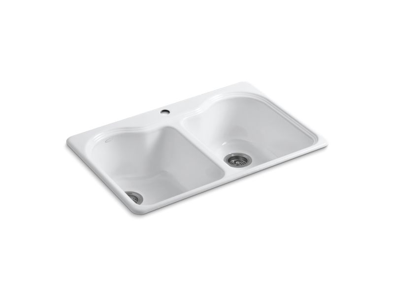 """Hartland® 33"""" x 22"""" x 9-5/8"""" top-mount double-equal kitchen sink with single faucet hole, White"""