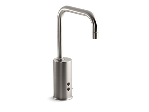 Gooseneck single-hole Touchless™ DC-powered commercial faucet with Insight™ technology and temperature mixer, Vibrant Stainless