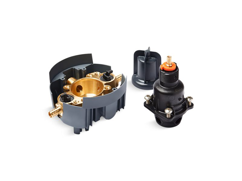 Rite-Temp® pressure-balancing valve body and cartridge kit with service stops and PEX crimp connections, Not Applicable