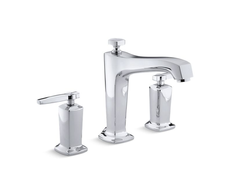 Margaux® deck-mount bath faucet trim for high-flow valve with non-diverter spout and lever handles, valve not included, Polished Chrome