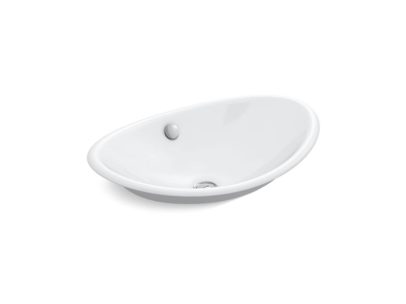 Iron Plains® Wading Pool® oval bathroom sink with White painted underside, White
