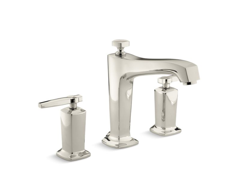 Margaux® deck-mount bath faucet trim for high-flow valve with diverter spout and lever handles, valve not included, Vibrant Polished Nickel