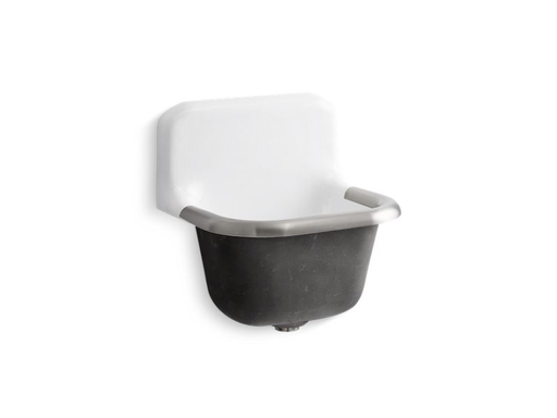 "Bannon™ 22-1/4"" x 18-1/4"" wall-mounted or P-trap mounted service sink with rim guard and blank back, White"