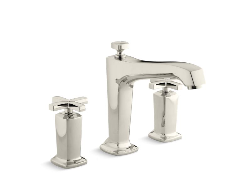 Margaux® deck-mount bath faucet trim for high-flow valve with non-diverter spout and cross handles, valve not included, Vibrant Polished Nickel