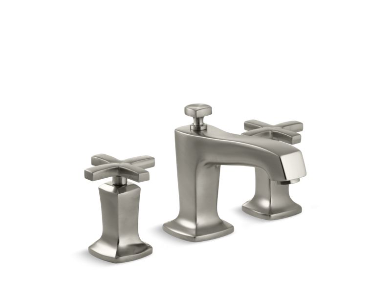Margaux® Widespread bathroom sink faucet with cross handles, Vibrant Brushed Nickel