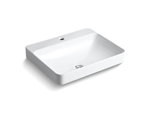 Vox® Rectangle vessel bathroom sink with single faucet hole, White