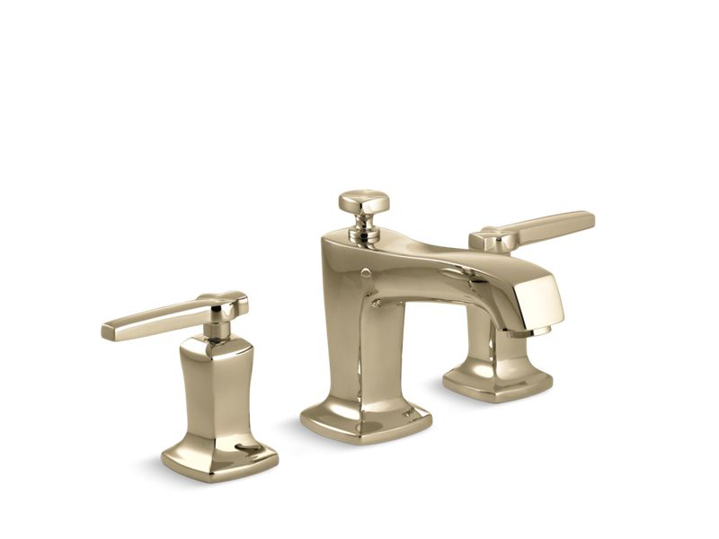 Margaux® Widespread bathroom sink faucet with lever handles, Vibrant French Gold
