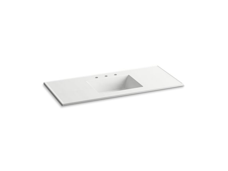 """Ceramic/Impressions® 49"""" rectangular vanity-top bathroom sink with 8"""" centerset faucet holes, White Impressions"""