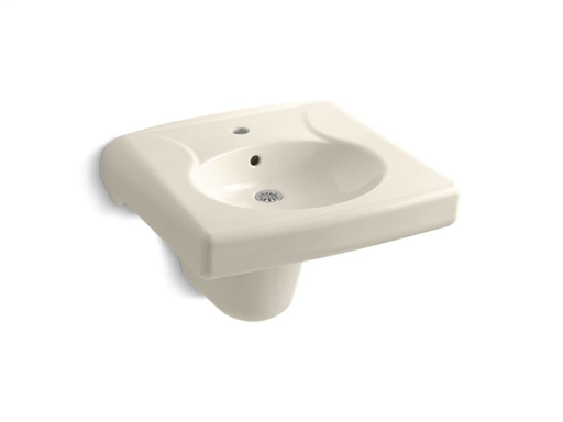Brenham™ wall-mounted or concealed carrier arm mounted commercial bathroom sink and shroud with single faucet hole, Almond