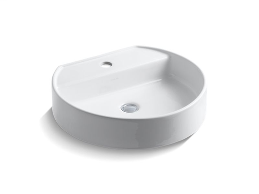 Chord® Wading Pool® bathroom sink with single faucet hole, White