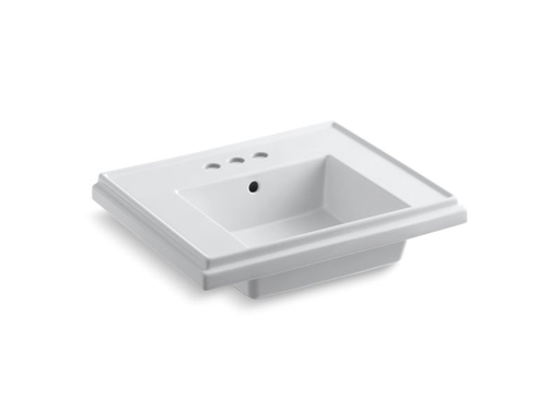 "Tresham®24"" pedestal bathroom sink basin with 4"" centerset faucet holes, White"