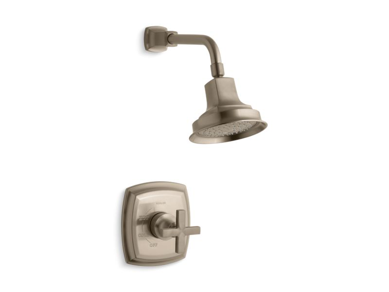 Margaux® Rite-Temp® shower valve trim with cross handle and 2.5 gpm showerhead, Vibrant Brushed Bronze