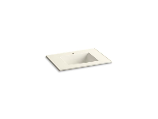 "Ceramic/Impressions® 31"" rectangular vanity-top bathroom sink with single faucet hole, Biscuit Impressions"