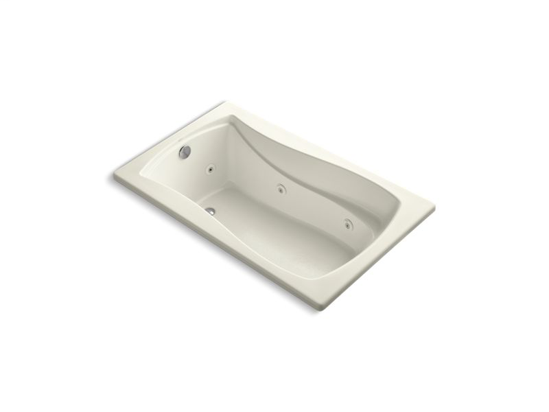"""Mariposa® 60"""" x 36"""" drop-in whirlpool with Bask® heated surface and reversible drain, Biscuit"""