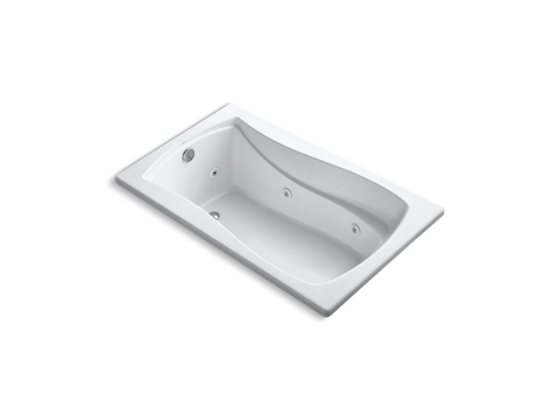 """Mariposa® 60"""" x 36"""" drop-in whirlpool with reversible drain and heater, White"""