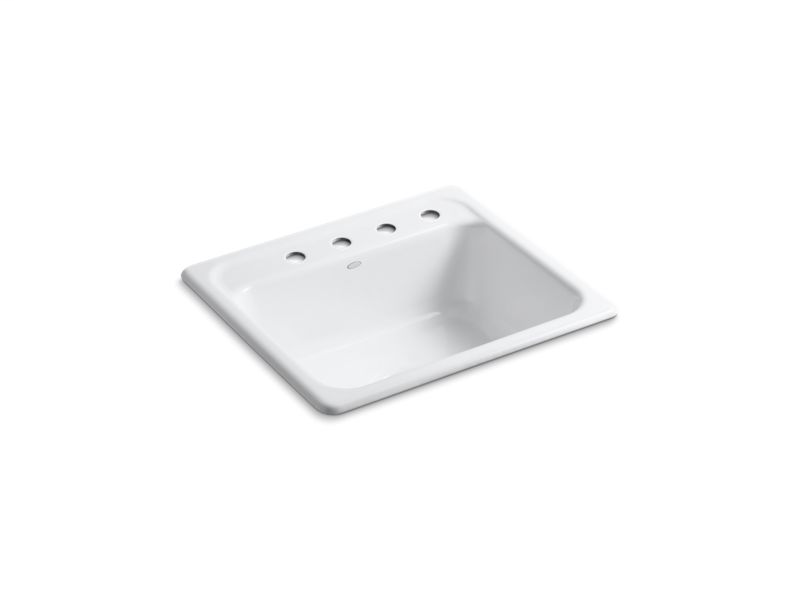 """Mayfield™ 25"""" x 22"""" x 8-3/4"""" top-mount single-bowl kitchen sink with 4 faucet holes, White"""
