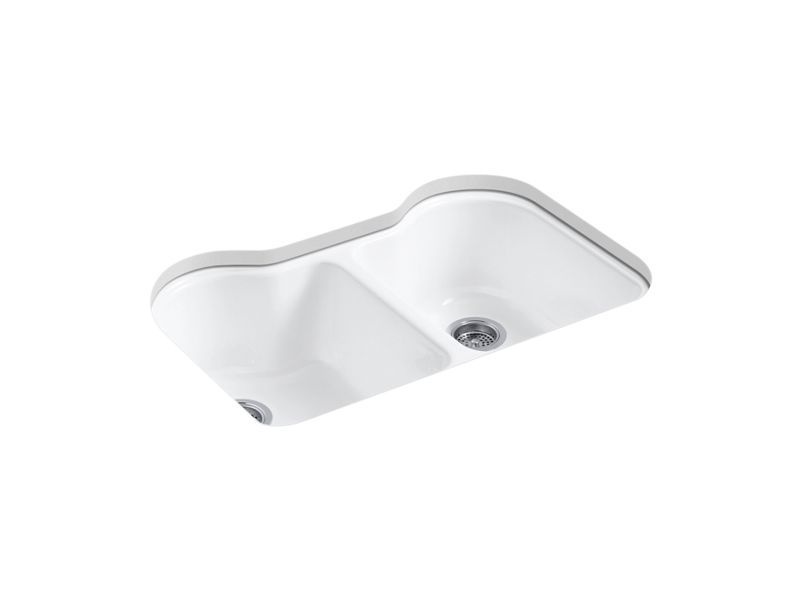 """Hartland® 33"""" x 22"""" x 9-5/8"""" under-mount double-equal kitchen sink with 5 faucet holes, White"""