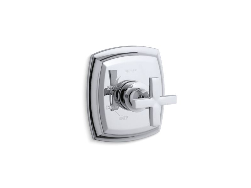 Margaux® Rite-Temp® valve trim with cross handle, Polished Chrome