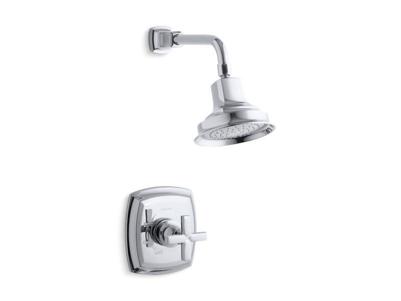 Margaux® Rite-Temp® shower valve trim with cross handle and 2.5 gpm showerhead, Polished Chrome
