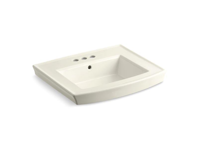 "Archer® pedestal bathroom sink with 4"" centerset faucet holes, Biscuit"