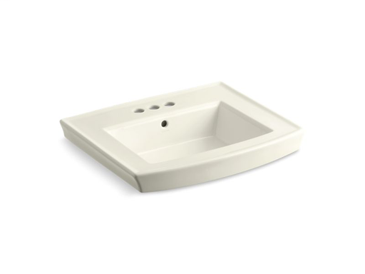 "Archer® pedestal bathroom sink with 4"" centerset faucet holes, Biscuit"