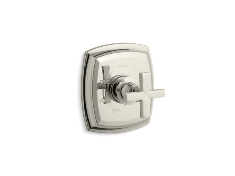 Margaux® Rite-Temp® valve trim with cross handle, Vibrant Polished Nickel