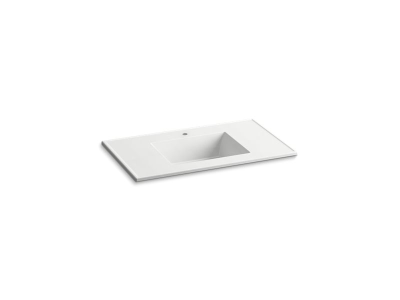 """Ceramic/Impressions® 37"""" rectangular vanity-top bathroom sink with single faucet hole, White Impressions"""