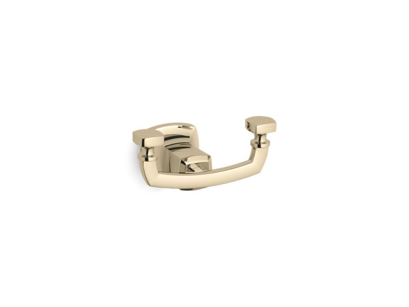 Margaux® double robe hook, Vibrant French Gold