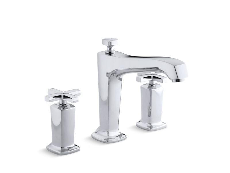 Margaux® deck-mount bath faucet trim for high-flow valve with non-diverter spout and cross handles, valve not included, Polished Chrome