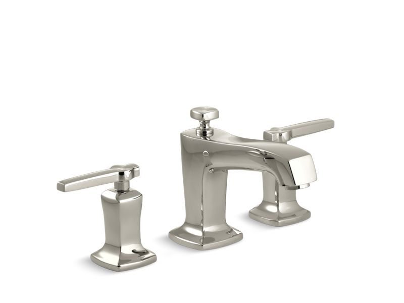 Margaux® Widespread bathroom sink faucet with lever handles, Vibrant Polished Nickel