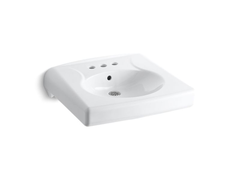 """Brenham™ wall-mounted or concealed carrier arm mounted commercial bathroom sink with 4"""" centerset faucet holes, White"""