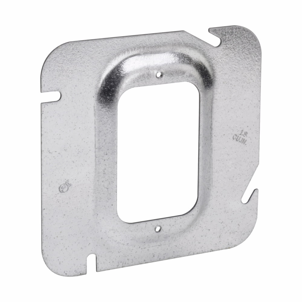 "Crouse-Hinds TP574 4-11/16"" 1/4"" Raised 1.8cu.in. Steel 1-Device Square Box Cover"