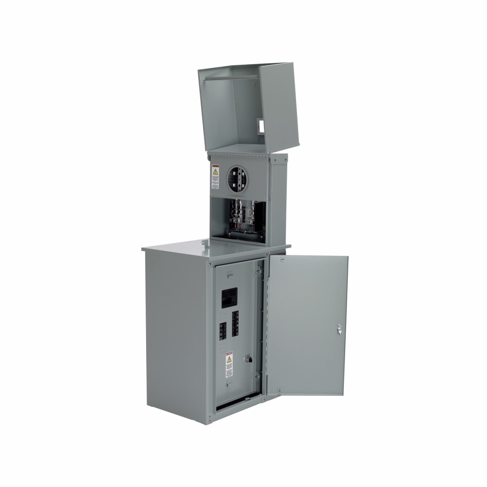 B-Line Series CMP4121 MC1 240 Volt 200 Amp 1-Phase 3-Wire 4-Jaw Gray NEMA 3R Plug-In Commercial Meter Pedestal