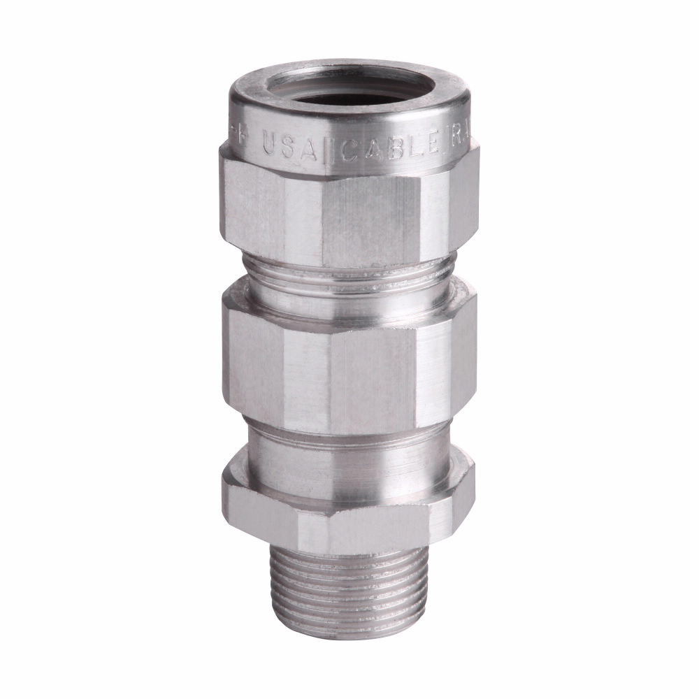"Mayer-Eaton Crouse-Hinds series TMC cable gland,Metal-clad (interlocked or continuously welded corrugated armoured) and tray cable,Armoured gland, Aluminum, Outer Sheath:1.63-2.31"",General purpose, 2"" NPT,Armor Range:1.57-2.06""-1"