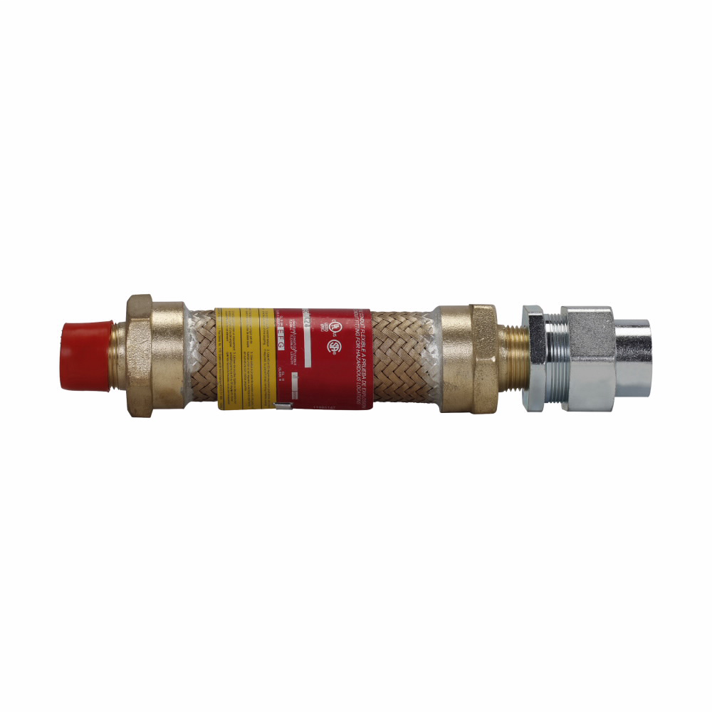 """Mayer-Eaton Crouse-Hinds series ECLK coupling, 18"""" flexible length, Male connection one end, female connection one end, Forged brass, 3/4"""" trade size-1"""