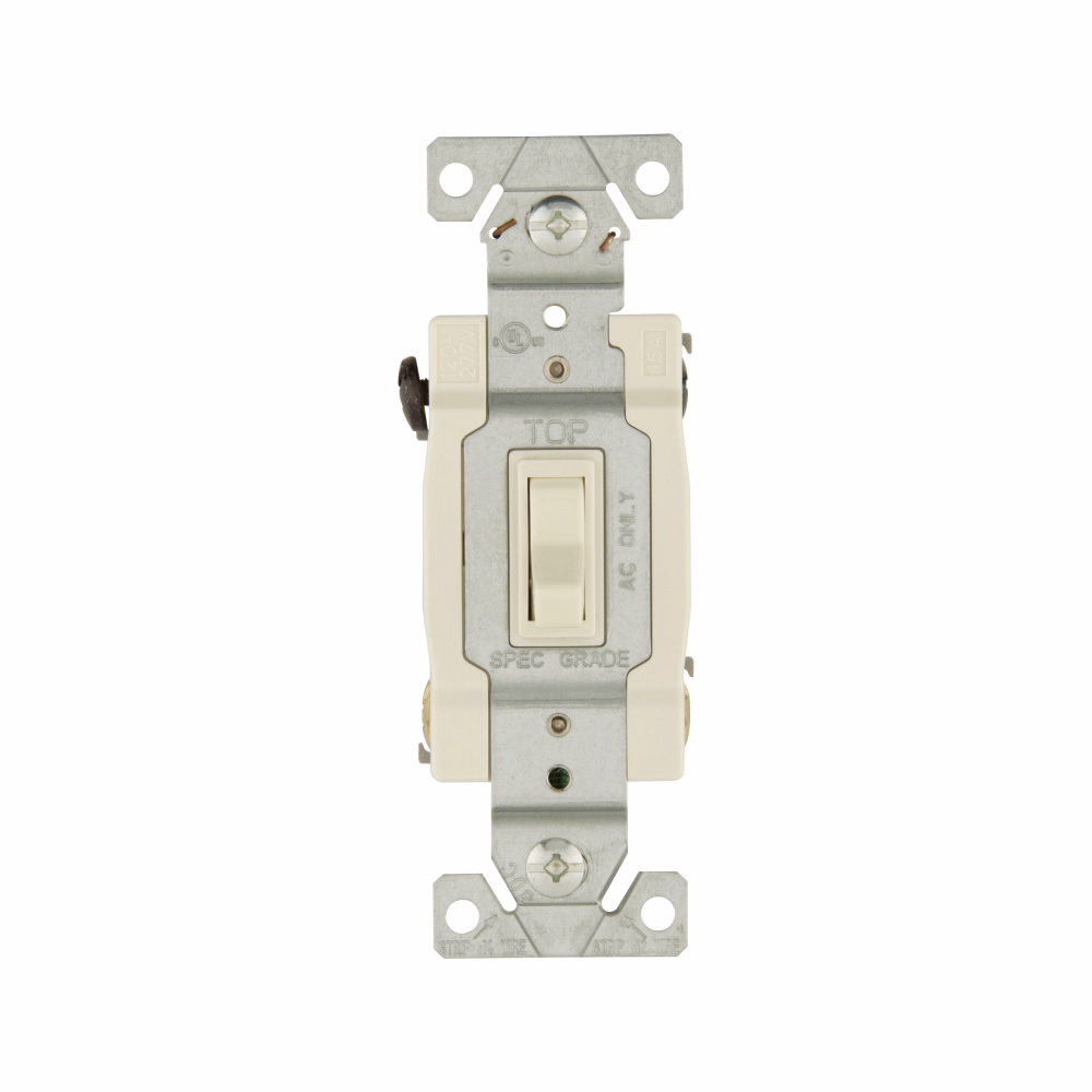 COOPER WIRING DEVICES Eaton toggle switch, #14-10 AWG, 15A, Residential, Wall, 120V, Side and push, Grounding, Light almond, Four-way, Polycarbonate