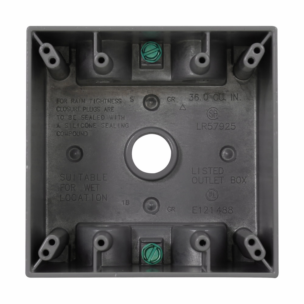 2 G Wp Outlet Box 2-5/8 Dp 1/2 5 Hole Gray