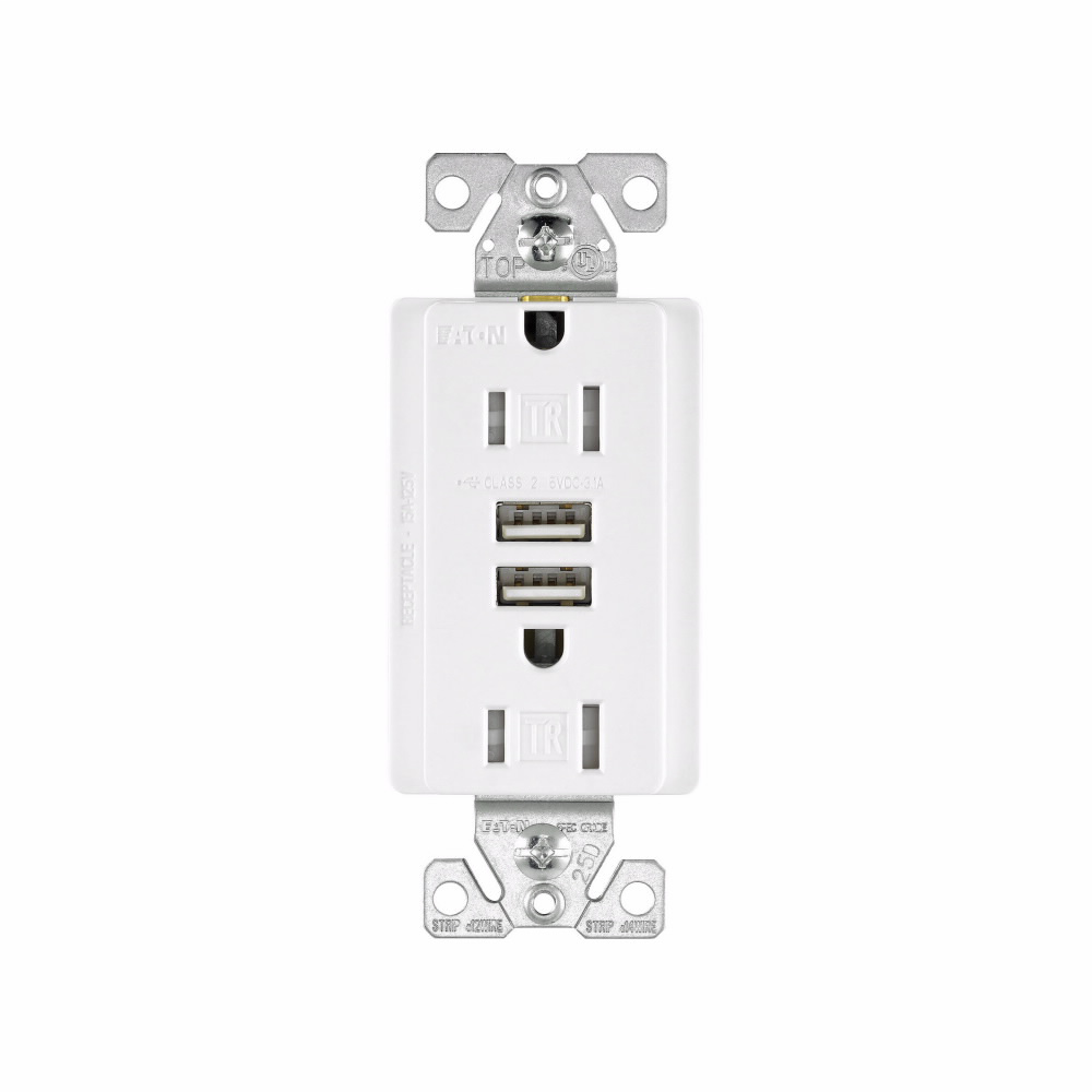 Arrow Hart Wiring TR7755W-BOX 15 Amp 125 VAC 2-Pole 3-Wire NEMA 5-15R White Combination USB Charger with Receptacle