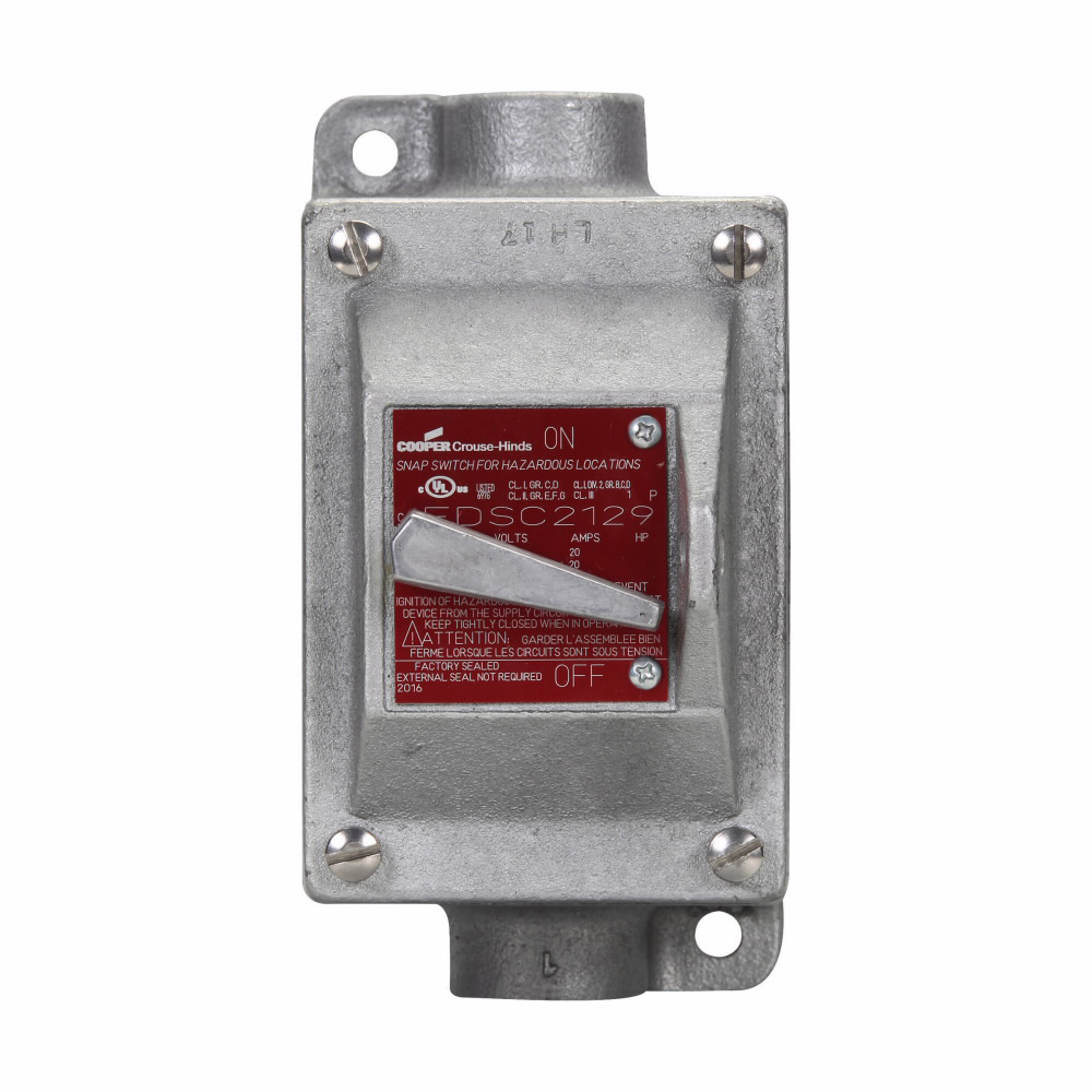 Crouse-Hinds Series EDSC3129 1-Pole 1-Gang 20 Amp 120/277 VAC Iron Alloy Feed-Through Snap Switch Control Station