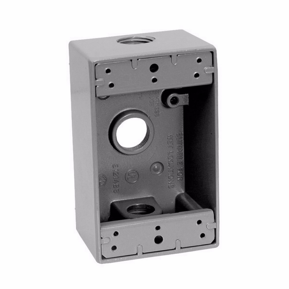 Crouse-Hinds Series TP7010 1-Gang 18 Cubic Inch 2 Inch Deep 3 - 1/2 Inch Outlet Holes 50/Box Gray Weatherproof Outlet Box